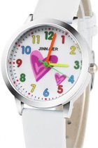 Tiener horloge- Wit- Hartjes
