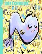 N Sketchbook: Cute Pastel Yellow Monogram Initial Letter N NARWHAL Alphabet Animals/Art Blank Drawing Pad/Scrapbook for Doodling/Ske