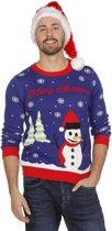 Kersttrui blauw met sneeuwman voor volwassenen maat XL