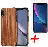 Apple iPhone XR Hoesje Hout Case Siliconen TPU Soft Gel + Screenprotector Gehard Glas Tempered Glass - Houten Hoes van iCall - Rood Sandelhout