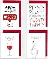 Set van 4 funny nieuwjaarskaarten
