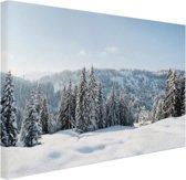 Besneeuwd landschap in Duitsland Canvas 120x80 cm - Foto print op Canvas schilderij (Wanddecoratie woonkamer / slaapkamer)