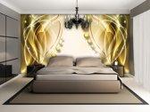 Fotobehang Papier Modern | Goud, Geel | 254x184cm