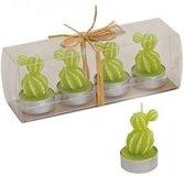 Lichtgroene cactus waxinelichtjes set van 4