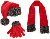 Kerstman set handschoenen sjaal en kerstmuts