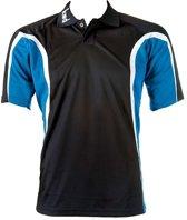 KWD Polo Fresco korte mouw - Zwart/kobaltblauw/wit - Maat S