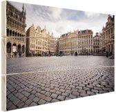 Grote Markt Brussel Hout 120x80 cm - Foto print op Hout (Wanddecoratie)
