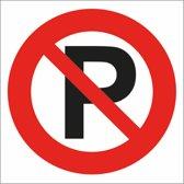 Verboden te parkeren sticker. Vierkant. 15 cm / 15 cm. 5 stickers voor deze prijs. Bord niet parkeren.