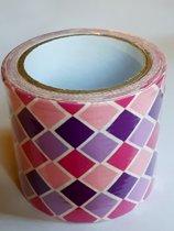 masking tape Roze Ruiten M - decoratie washi papier tape - 48 mm x 4 m