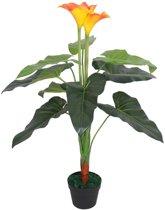 Kunst calla lelie plant met pot 85 cm rood en geel (incl. Fotolijst)