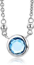 Majestine ketting - 925 Zilveren Rhodium Collier met Zirkonia en synthetische blauwe Spinel - Ketting 45 cm