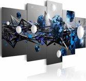Schilderij - Melkweg in blauw , grijs wit , 5 luik , 2 maten