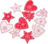 ProductGoods - 10 stuks kerstversiering kerstbomen/hartjes/sterren rood/wit