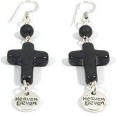 Heaven Eleven - oorbel - met zwart big kruisje