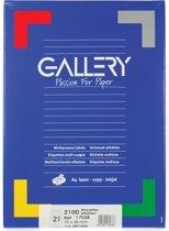 6x Gallery witte etiketten 70x38mm (bxh), rechte hoeken, doos a 2.100 etiketten