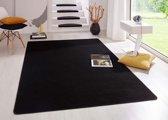 Modern effen vloerkleed Fancy - zwart 80x150 cm