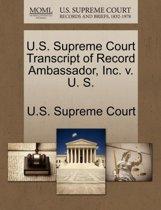 U.S. Supreme Court Transcript of Record Ambassador, Inc. V. U. S.