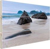 Zandstrand Hout 160x120 cm - Foto print op Hout (Wanddecoratie) XXL / Groot formaat! / Zee en Strand