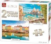 King 2 in 1 Puzzel 1000 Stukjes (68 x 49 cm) - Steden Collectie - Legpuzzel Kopenhagen en Venetie
