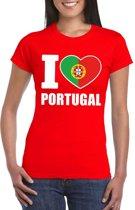 Rood I love Portugal fan shirt dames S