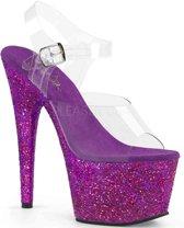EU 36 = US 6 | ADORE-708LG | 7 Heel, 2 3/4 PF Ankle Strap Sandal W/ Glitter Bottom