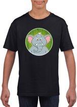 Kinder t-shirt zwart met vrolijke olifant print - olifanten shirt L (146-152)