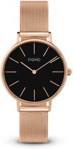 FAEMD Lune Mesh Series - Horloge - Dames - Classic Rosé Goud/Zwart - Mesh - Rosé Goud - Ø 32 mm