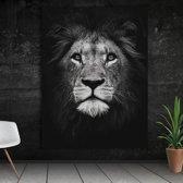 Leeuwen foto zwart-wit canvas - Muurdecoratie leeuw - Dierenfoto op canvas leeuw - Canvasfoto leeuw - Wanddecoratie Anno 1588 - XL - ca. 60 x 90 cm - Zwart Wit