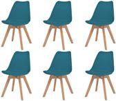 Eetkamerstoelen Turquoise 6 STUKS Plastic met Kunstleren zitje / Eetkamer stoelen / Extra stoelen voor huiskamer / Dineerstoelen / Tafelstoelen / Barstoelen / Huiskamer stoelen/ Tafelstoelen / Barstoelen