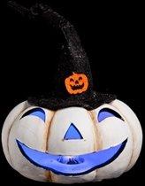 Halloween pompoen wit met hoed  - set van 2 stuks