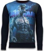 Local Fanatic The Sailor Man - Digital Rhinestone Sweater - Zwart - Maten: M