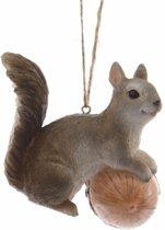 Kerstversiering - eekhoorn kerstboomhanger grijs 7 cm - kersthanger