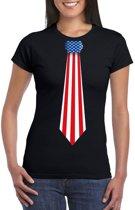 Zwart t-shirt met Amerika vlag stropdas dames 2XL