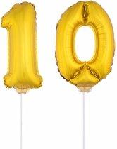 Gouden opblaas cijfer 10 op stokjes - verjaardag versiering / jaar