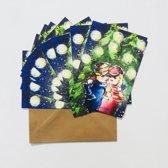 Set van 10 luxe A5 kerstkaarten inclusief envelop