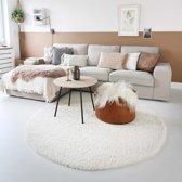 Hoogpolig vloerkleed shaggy Trend effen rond - crème 120 cm rond