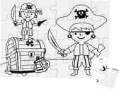 Puzzel, piraten, A5 15x21 cm, wit, 16stuks