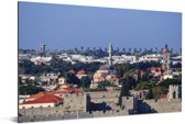 Uitzicht over de Oude stad van Rhodos Aluminium 180x120 cm - Foto print op Aluminium (metaal wanddecoratie) XXL / Groot formaat!