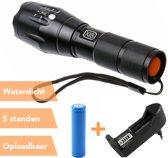 XIB Militaire Zaklamp 2000 Lumen | 5 Lichtstanden & Zoomfunctie | Waterdicht | Inclusief batterij & oplader