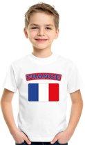 Frankrijk t-shirt met Franse vlag wit kinderen XS (110-116)