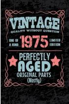 Vintage Quality Without Question One of a Kind 1975 Limited Edition Perfectly Aged Original Parts Mostly: Blank Lined Journal - 6x9 Birthday Journal,