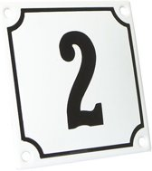 Emaille huisnummer wit/zwart nr. 2 10x10cm