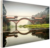 Chinese brug Hout 120x80 cm - Foto print op Hout (Wanddecoratie)