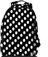 Sleevy laptop rugzak 15,6 Deluxe zwart met witte stippen - schooltas