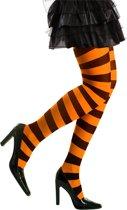 Panty striped neon oranje/zwart one size