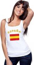 Witte dames tanktop met vlag van Spanje S