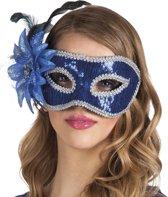 Venetiaans masker met blauwe bloem voor volwassenen - Verkleedmasker - One size