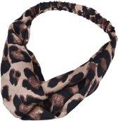 Haarband met luipaard print, beige
