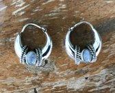Natuursieraad -  925 sterling zilver maansteen oorringen creolen - luxe edelsteen sieraad - handgemaakt