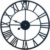 SensaHome Wandklok - Metalen Klok Stil Uurwerk- Industrieel Retro Vintage Stijl - Industrieel Decoratie Wand - 45CM Diameter - Zwart